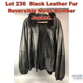 Lot 236 Black Leather Fur Reversible Mens Bomber Jacket.