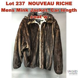 Lot 237 NOUVEAU RICHE Mens Mink Jacket. Car length coat w