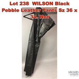 Lot 238 WILSON Black Pebble Leather Pants Sz 36 x 34. Not