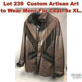 Lot 239 Custom Artisan Art to Wear Mens Fur Coat. Sz XL.