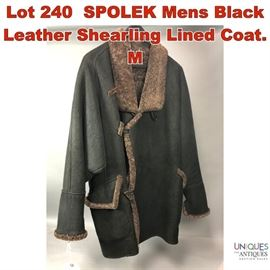 Lot 240 SPOLEK Mens Black Leather Shearling Lined Coat. M