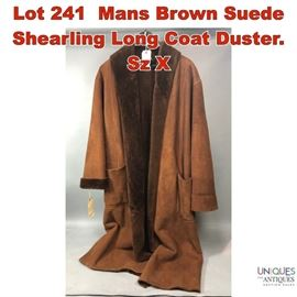 Lot 241 Mans Brown Suede Shearling Long Coat Duster. Sz X