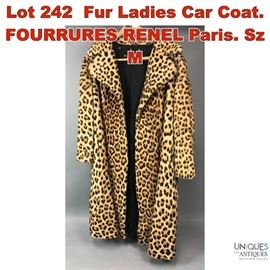 Lot 242 Fur Ladies Car Coat. FOURRURES RENEL Paris. Sz M