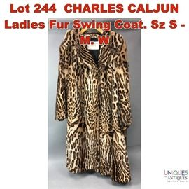Lot 244 CHARLES CALJUN Ladies Fur Swing Coat. Sz S  M. W