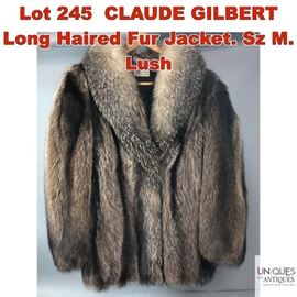 Lot 245 CLAUDE GILBERT Long Haired Fur Jacket. Sz M. Lush