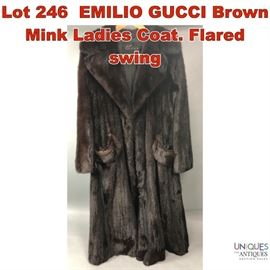 Lot 246 EMILIO GUCCI Brown Mink Ladies Coat. Flared swing