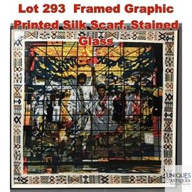 Lot 293 Framed Graphic Printed Silk Scarf. Stained Glass