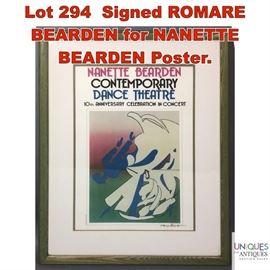 Lot 294 Signed ROMARE BEARDEN for NANETTE BEARDEN Poster.