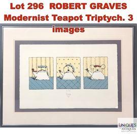 Lot 296 ROBERT GRAVES Modernist Teapot Triptych. 3 images