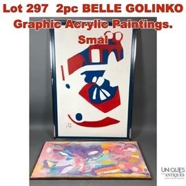 Lot 297 2pc BELLE GOLINKO Graphic Acrylic Paintings. Smal