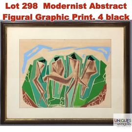 Lot 298 Modernist Abstract Figural Graphic Print. 4 black