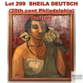 Lot 299 SHEILA DEUTSCH 20th cent Philadelphia Portrait