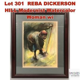 Lot 301 REBA DICKERSON HILL Modernist Watercolor Woman wi