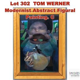Lot 302 TOM WERNER Modernist Abstract Figural Painting. C