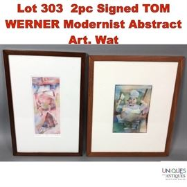 Lot 303 2pc Signed TOM WERNER Modernist Abstract Art. Wat