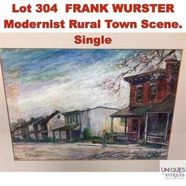 Lot 304 FRANK WURSTER Modernist Rural Town Scene. Single
