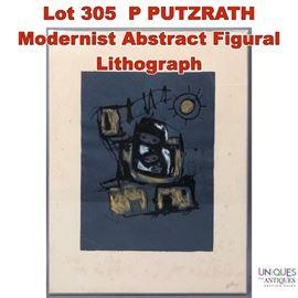 Lot 305 P PUTZRATH Modernist Abstract Figural Lithograph