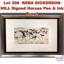 Lot 306 REBA DICKERSON HILL Signed Horses Pen  Ink Drawi