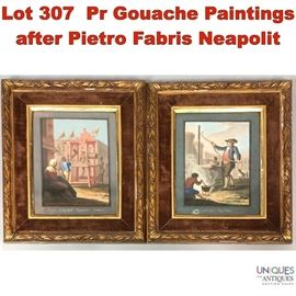 Lot 307 Pr Gouache Paintings after Pietro Fabris Neapolit