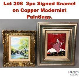 Lot 308 2pc Signed Enamel on Copper Modernist Paintings.