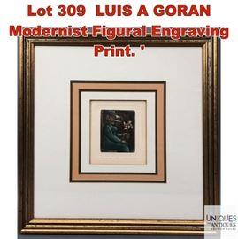 Lot 309 LUIS A GORAN Modernist Figural Engraving Print.