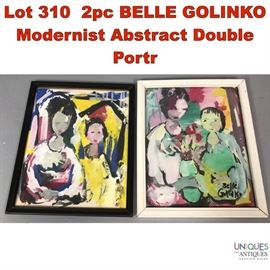 Lot 310 2pc BELLE GOLINKO Modernist Abstract Double Portr