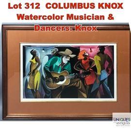 Lot 312 COLUMBUS KNOX Watercolor Musician  Dancers. Knox