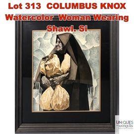 Lot 313 COLUMBUS KNOX Watercolor Woman Wearing Shawl. Si
