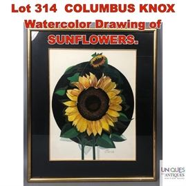 Lot 314 COLUMBUS KNOX Watercolor Drawing of SUNFLOWERS.