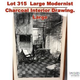 Lot 315 Large Modernist Charcoal Interior Drawing. Large