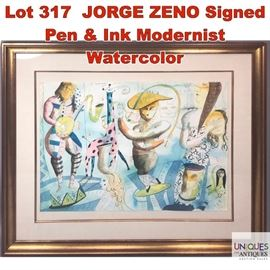 Lot 317 JORGE ZENO Signed Pen  Ink Modernist Watercolor