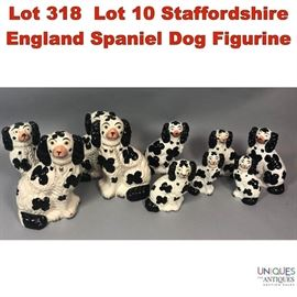Lot 318 Lot 10 Staffordshire England Spaniel Dog Figurine