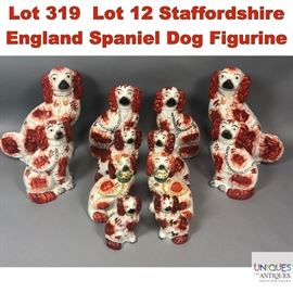 Lot 319 Lot 12 Staffordshire England Spaniel Dog Figurine