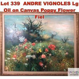 Lot 339 ANDRE VIGNOLES Lg Oil on Canvas Poppy Flower Fiel