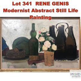 Lot 341 RENE GENIS Modernist Abstract Still Life Painting