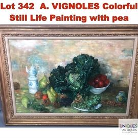 Lot 342 A. VIGNOLES Colorful Still Life Painting with pea