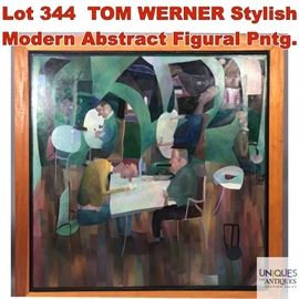 Lot 344 TOM WERNER Stylish Modern Abstract Figural Pntg.
