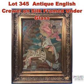 Lot 345 Antique English Crewel on Silk Framed Under Glass