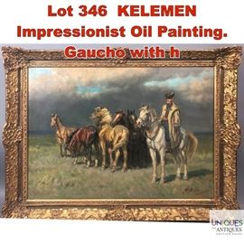 Lot 346 KELEMEN Impressionist Oil Painting. Gaucho with h
