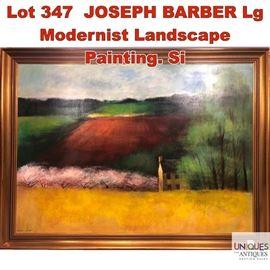 Lot 347 JOSEPH BARBER Lg Modernist Landscape Painting. Si