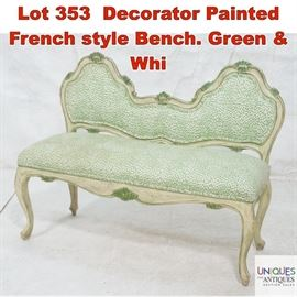 Lot 353 Decorator Painted French style Bench. Green  Whi