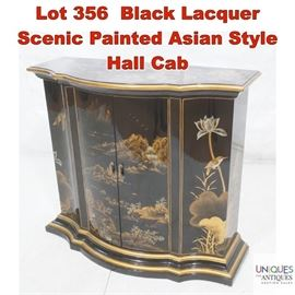Lot 356 Black Lacquer Scenic Painted Asian Style Hall Cab