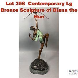 Lot 358 Contemporary Lg Bronze Sculpture of Diana the Hun