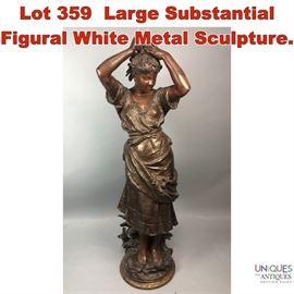 Lot 359 Large Substantial Figural White Metal Sculpture.