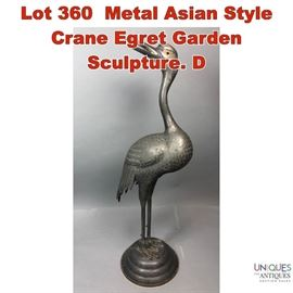 Lot 360 Metal Asian Style Crane Egret Garden Sculpture. D