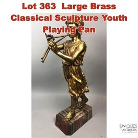Lot 363 Large Brass Classical Sculpture Youth Playing Pan