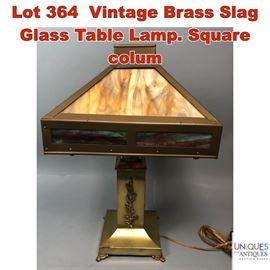 Lot 364 Vintage Brass Slag Glass Table Lamp. Square colum