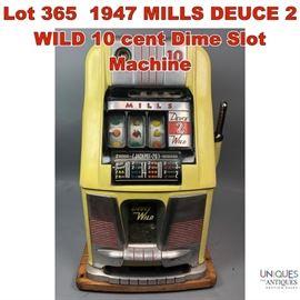 Lot 365 1947 MILLS DEUCE 2 WILD 10 cent Dime Slot Machine