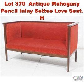 Lot 370 Antique Mahogany Pencil Inlay Settee Love Seat. H