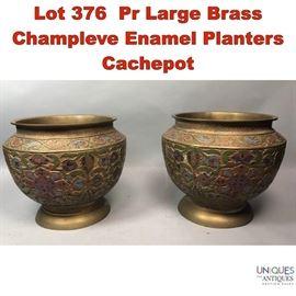 Lot 376 Pr Large Brass Champleve Enamel Planters Cachepot